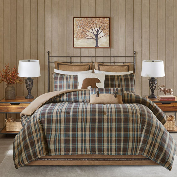 Plaid Comforter Set Cabin Theme Bedding Checkered Checked Tartan Madras Pattern Ljack Stripes Striped Squares Hunting Lodge Cozy