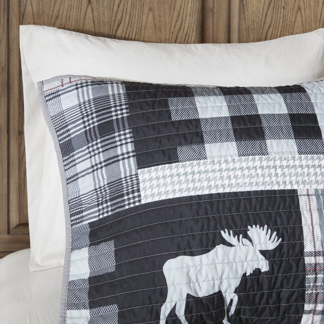 Plaid\Cal Quilt Set Cabin Lodge Hunting Theme Bedding Animal Moose Striped Checkered Pattern Patchwork Ljack Rugby Stripes