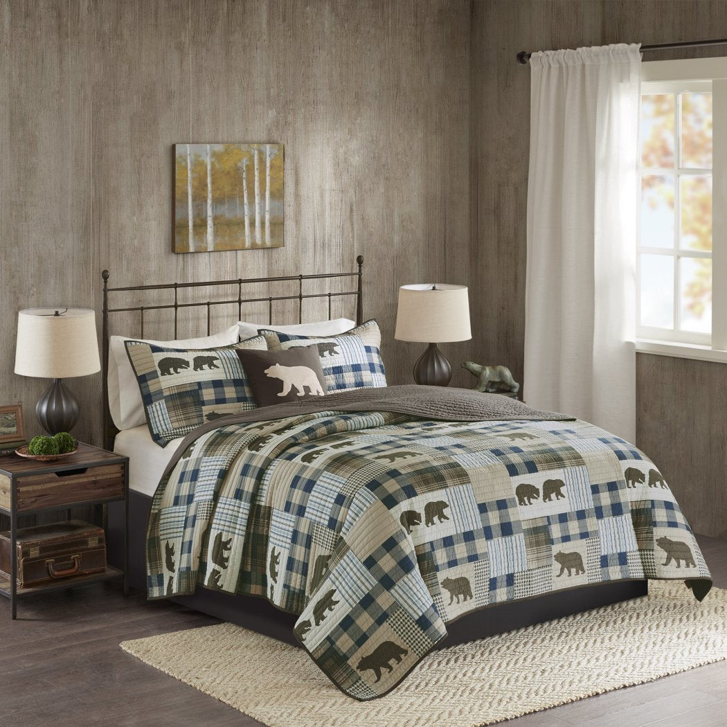 Plaid Quilt Set Cabin Lodge Hunting Theme Bedding Animal Bear Striped Checkered Pattern Patchwork Ljack Rugby Stripes Bears