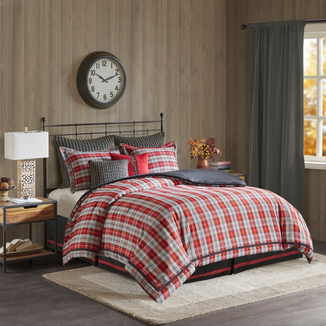 Cabin Tartan Comforter Set Madras Plaid Bedding Classic Ljack Pattern Hunting Themed Lodge Cottage Medium Warmth Woven