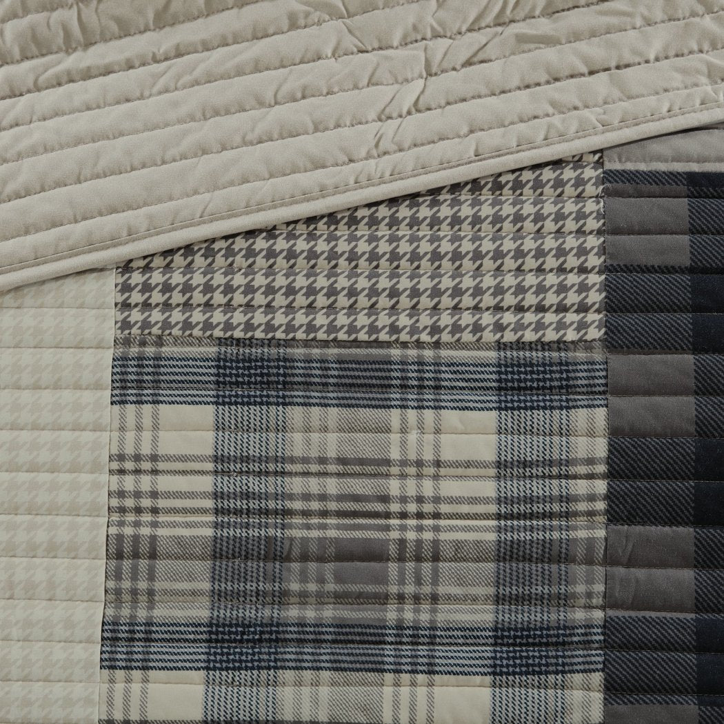 Plaid Quilt Set Madras Tartan Ljack Pattern Cabin Bedding Lodge Patchwork Hunting Themed Cottage