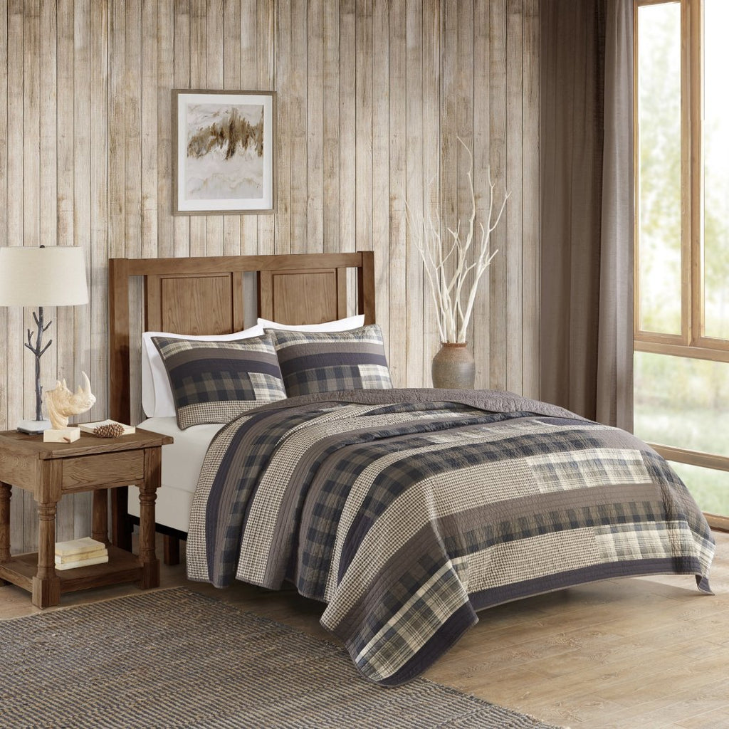 Plaid Quilt Set Log Cabin Bedding Southwest Cottage Lodge Themed Hunting Ljack Pattern Tartan