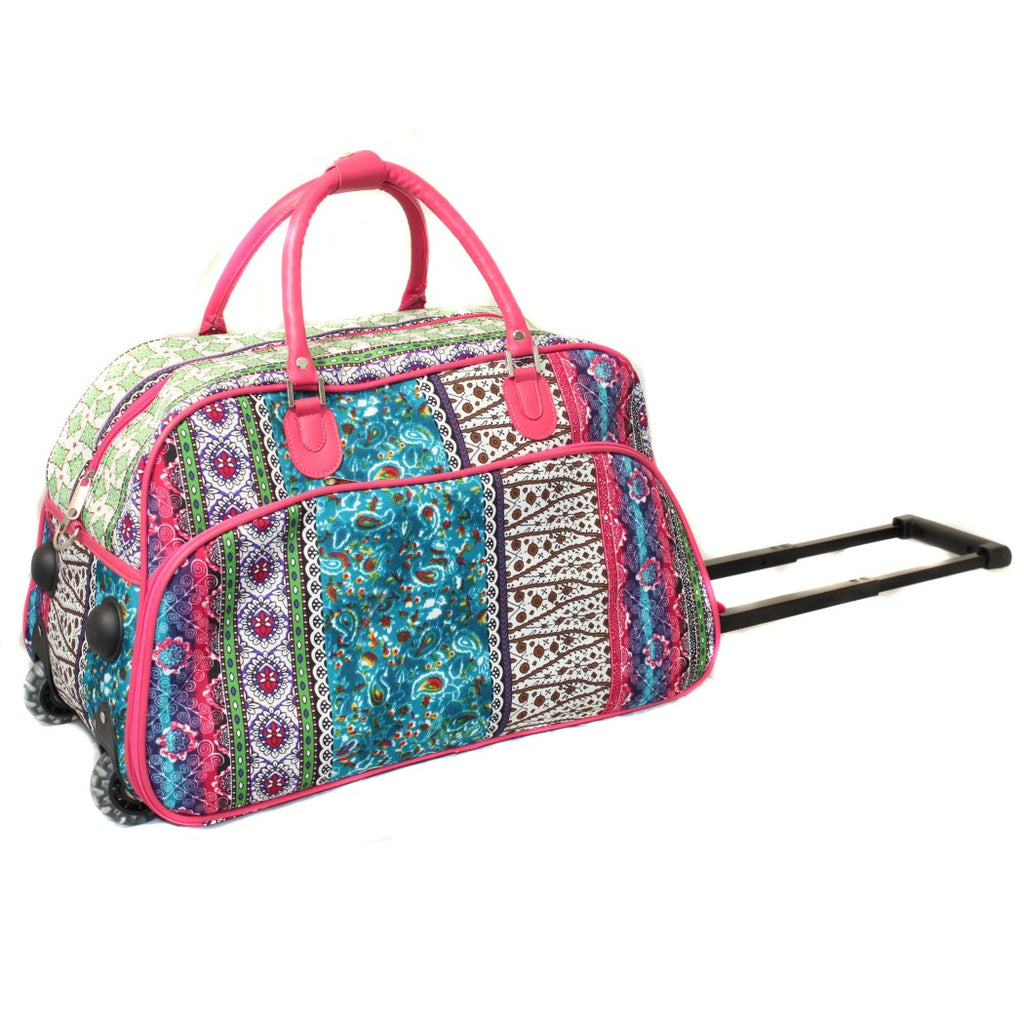 Pink Fashion Rolling Duffel Bag Signature Pattern Polyester Telescoping Handle - Diamond Home USA