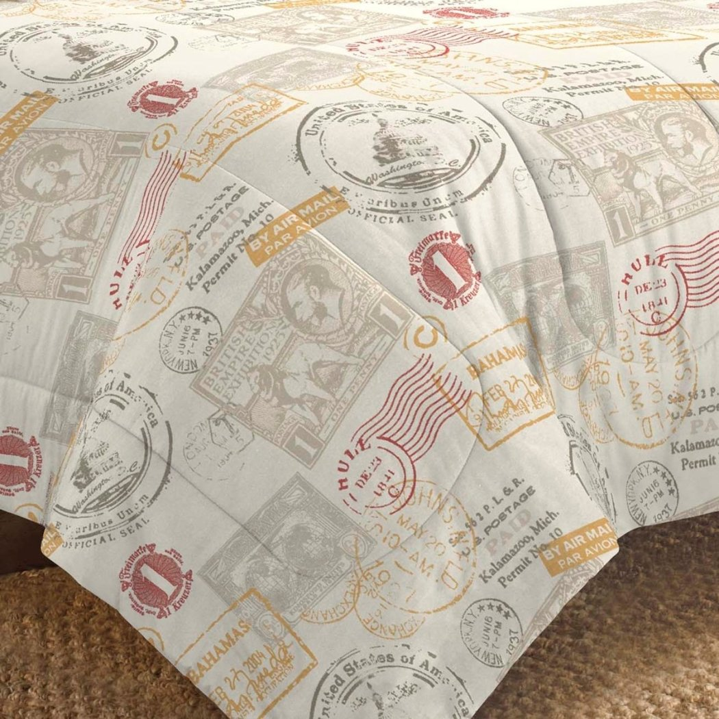 World Travel Themed Comforter Set Around World Postal Marks Pattern Tourist Design Adorable Stripes Bedding Contemporary Vibrant