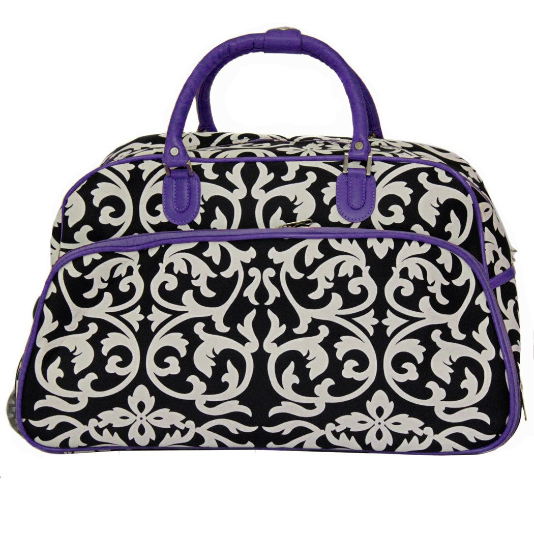 Damask Duffle Bag Carry Rolling Duffle Travel Bag Foldable Compartment Carry Fashion Lightweight RollingSoftsided Damask Pattern