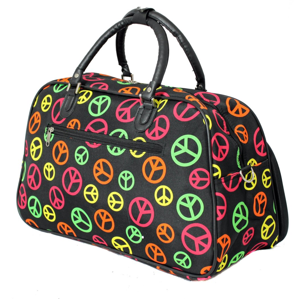 Black Peace Sign Duffle Bag 21 Inch Carry Shoulder Tote Bag Checkpoint Friendly Foldable EVA polyester Fashion Lightweight Softside Sport Utility - Diamond Home USA
