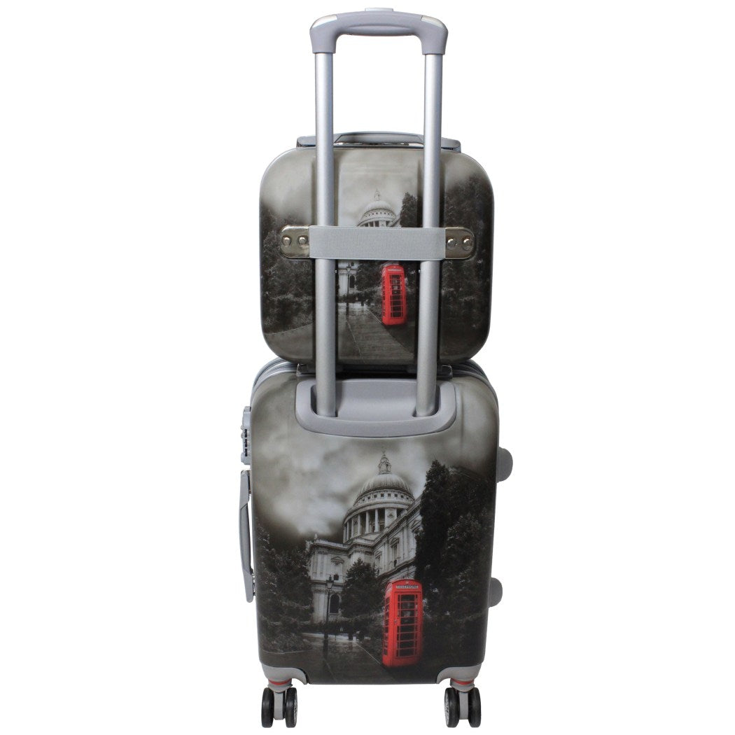 Black White Grey London England Phonebooth Theme Hardtop Luggage UK United Kingdom Great Britian Parliament Themed Pattern Upright Rolling Lightweight - Diamond Home USA