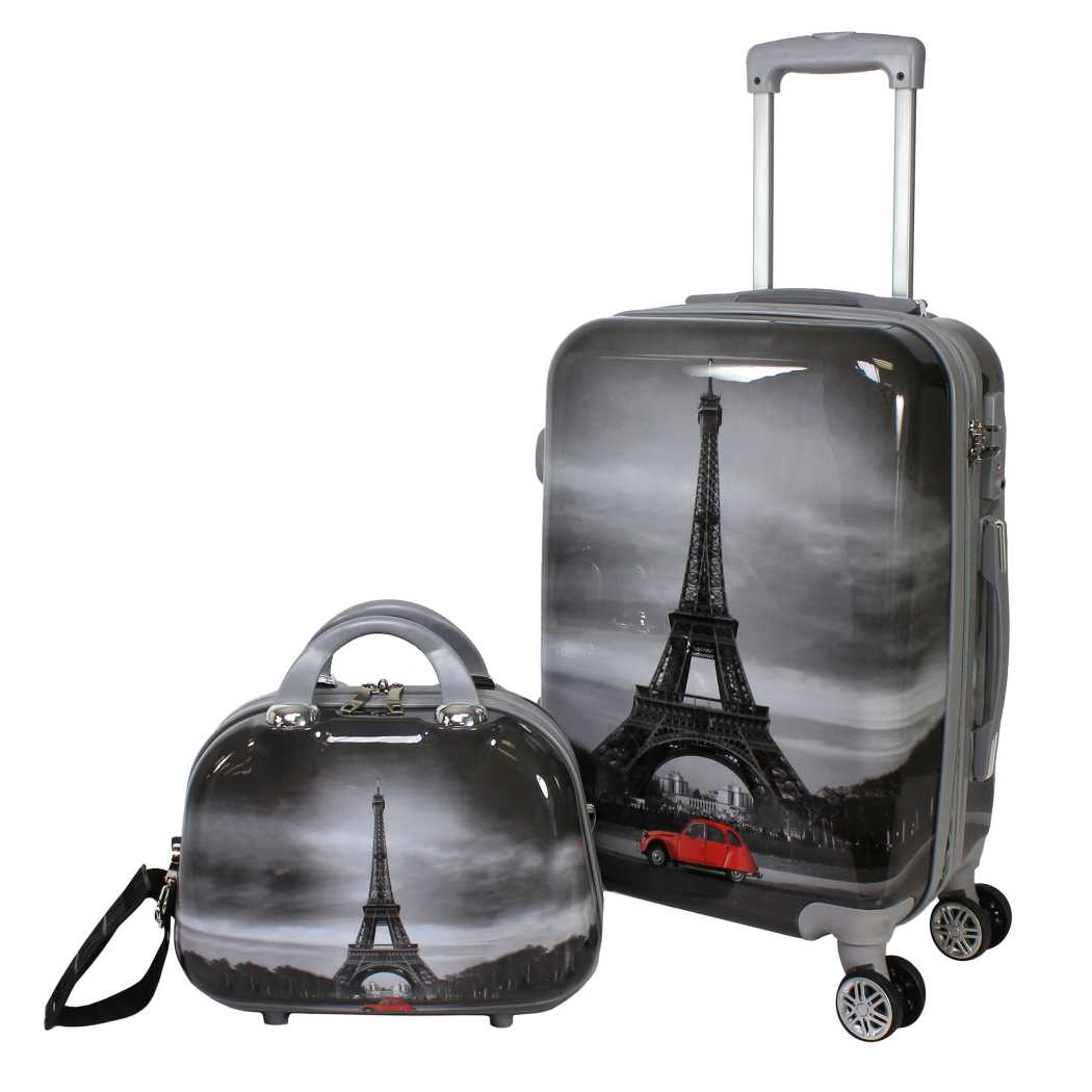 Girls Black White Grey Red Eiffel Tower Theme Hardtop Luggage Paris France French Inspired Famous Landmark Themed Pattern Upright Rolling Lightweight - Diamond Home USA