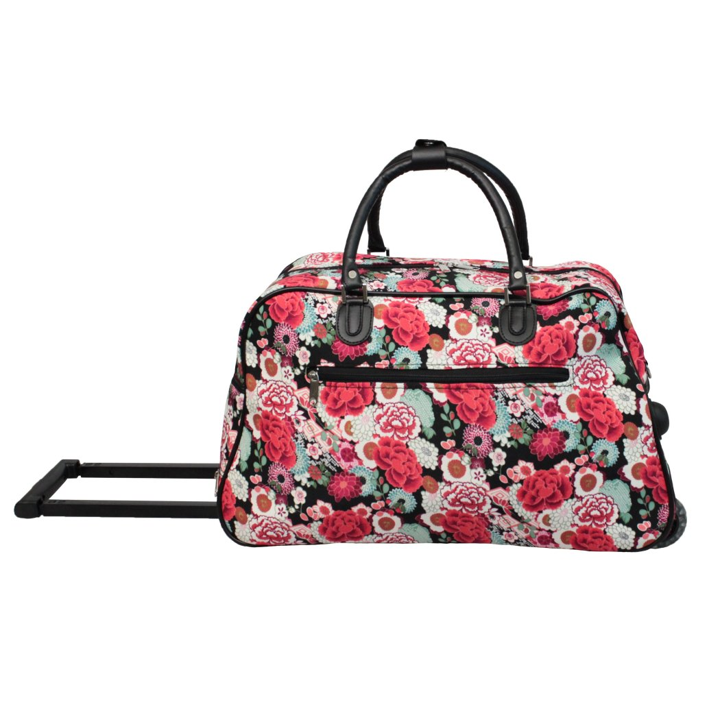 Kids Rose Pink Lightweight Rolling Duffle Bag 21 Inch Flower Design - Diamond Home USA