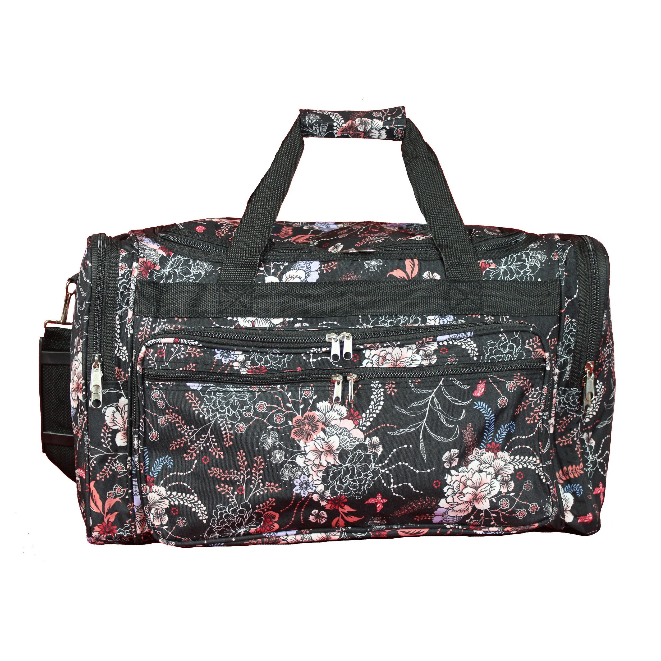 Flower 22-inch Lightweight Duffle Bag Multi Color Floral Polyester Checkpoint-friendly Multi-compartment Adjustable Strap Lined - Diamond Home USA