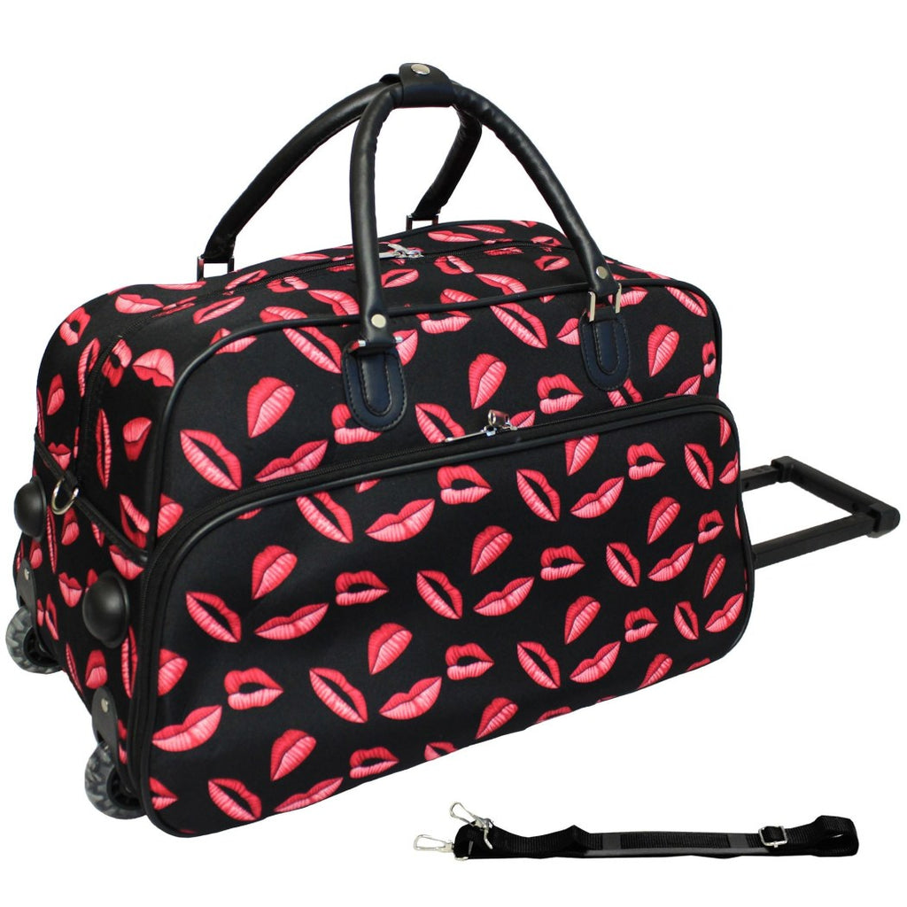 Blue Pink Carry Rolling Duffle Bag Foldable Graphic Kisses Pattern Polyester - Diamond Home USA