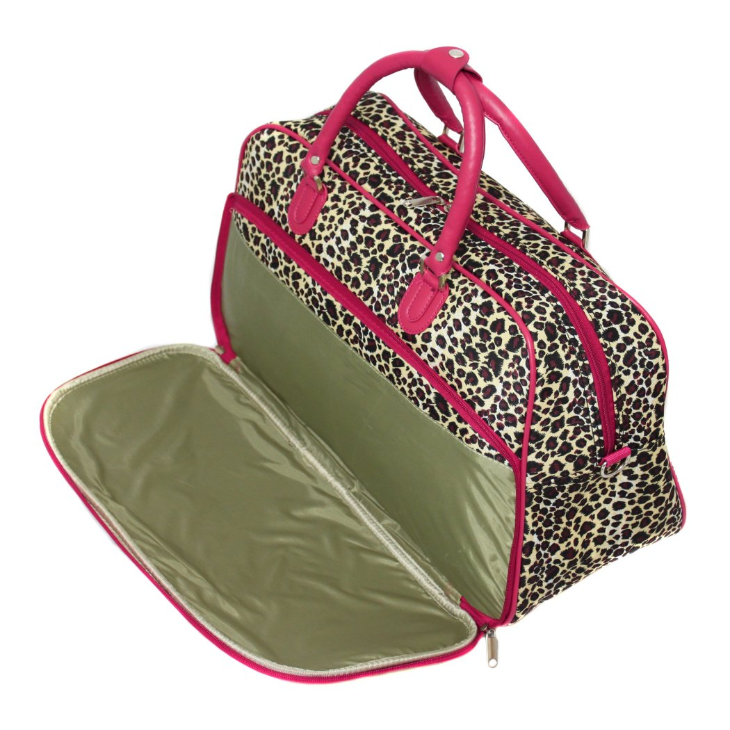Trim Lightweight Duffel Bag Leopard Pattern Polyester Foldable