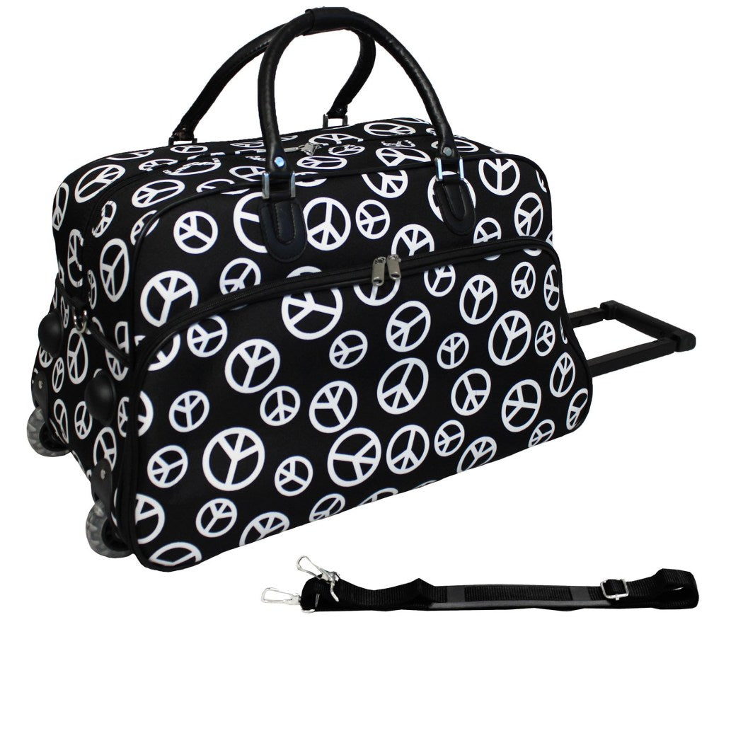 Black White Peace Sign Duffle Bag 21 inch Carry Rolling Duffle Bag Foldable Compartment Telescoping Handle Fashion Lightweight Polyester - Diamond Home USA
