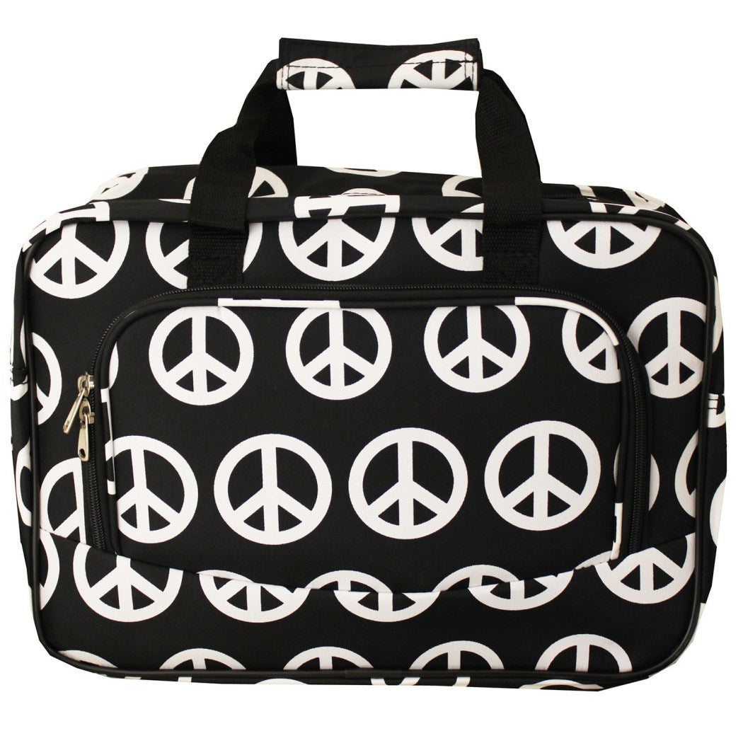 Peace Sign Duffle Bag Lightweight Carry Tote Duffle Bag Polyester Checkpoint Friendly Foldable Compartment Features Geometric
