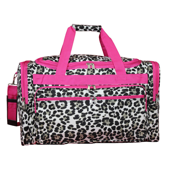 Pink Trim Cheetah 22-inch Lightweight Duffle Bag Multi Color Animal Polyester Checkpoint-friendly Multi-compartment Adjustable Strap Lined - Diamond Home USA