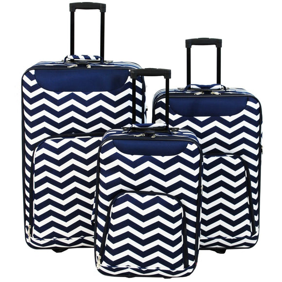 Blue White Wheeling Briefcase Chevron Pattern Polyester - Diamond Home USA