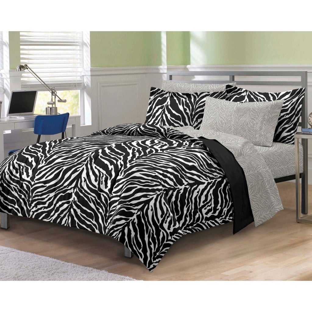 Girls Zebra Themed Comforter Set Stylish Zoo Animal Jungle Bedding Girly African Safari Animals Exotic Wildlife Pattern