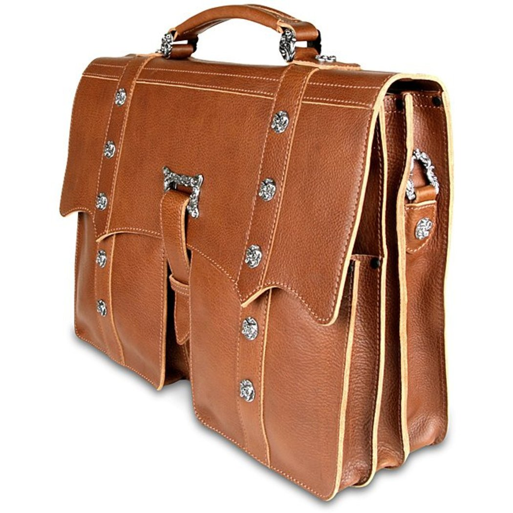 Brown Attorney Briefcase Leather Law Litigator Litigation Business Soft Sided - Diamond Home USA