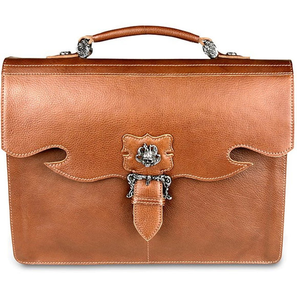 Brown Leather Attorney Briefcase Law Litigator Litigation Flip Over Soft Sided - Diamond Home USA