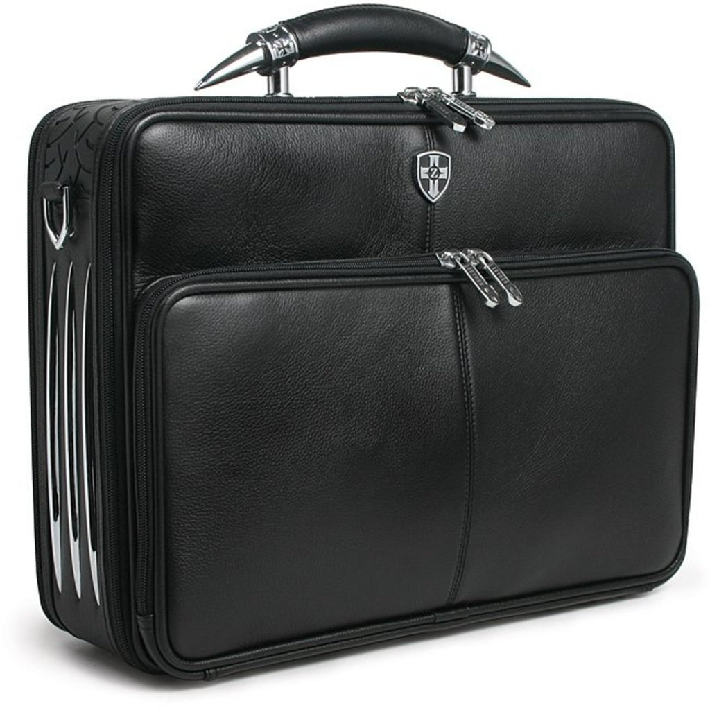 Black Attorney Briefcase Leather Law Litigator Litigation Business Soft Sided - Diamond Home USA