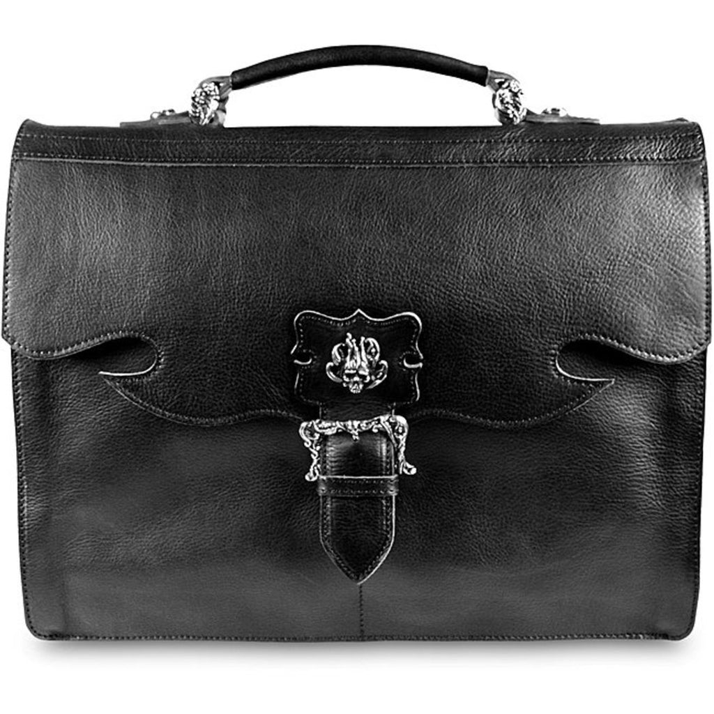 Black Litigator Briefcase Leather Fashion Softside Flapover Compartment - Diamond Home USA