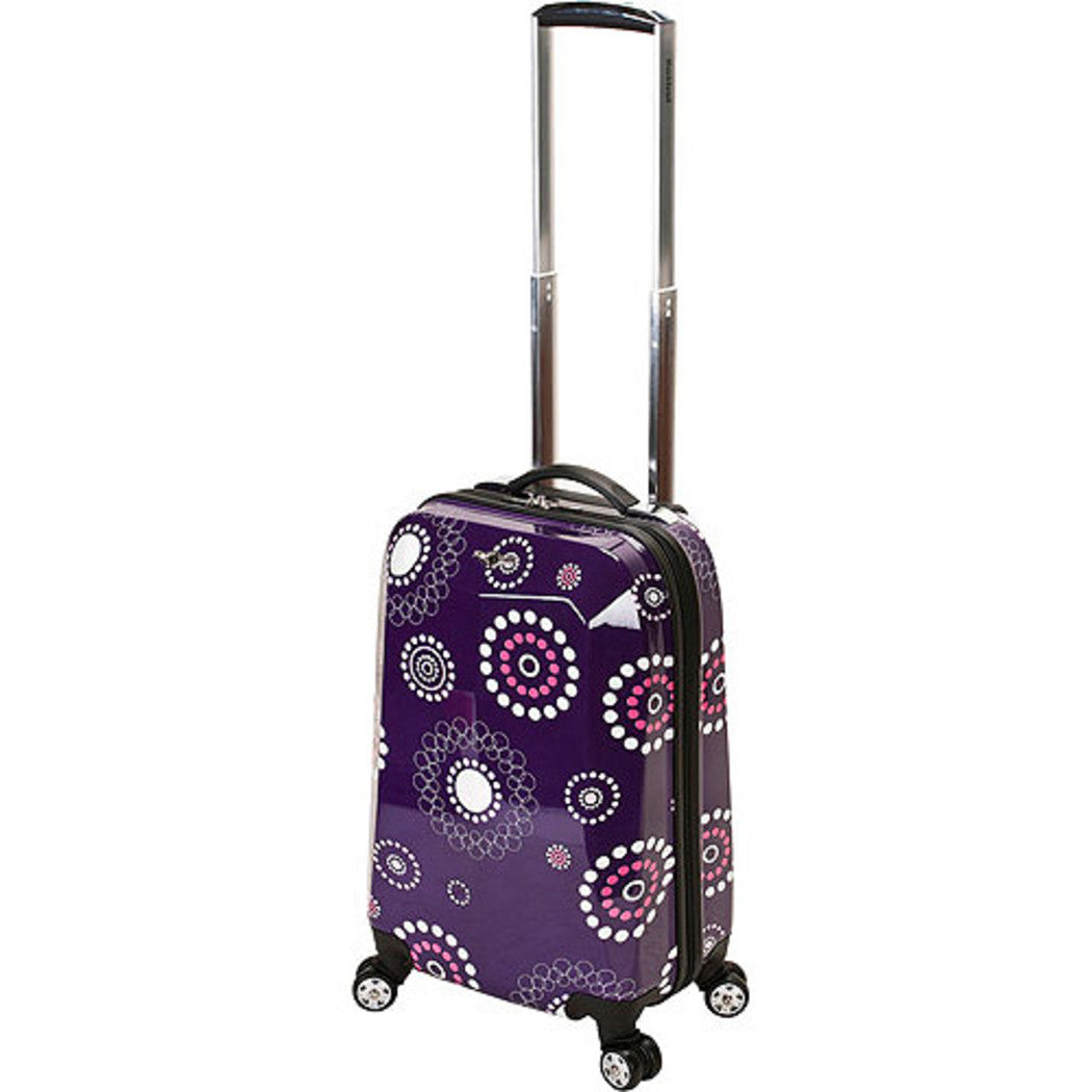 Girls Abstract Art Theme Carry Luggage Hardtop Hardside Roller Wheel Set Girls Heart Polka Dots Floral Themed Suitcase Rolling Upright Spinner
