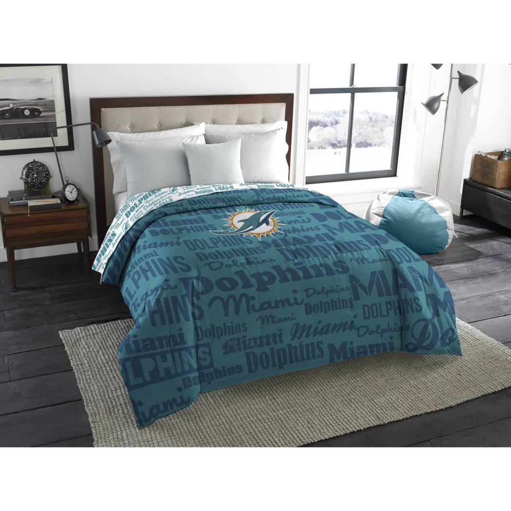 NFL Miami Dolphins Comforter Full Sports Patterned Bedding Team Logo Fan Merchandise Team Spirit Football Themed National Football League Blue Orange