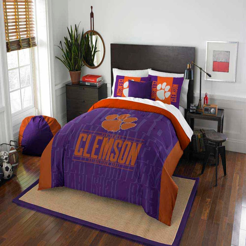 NCAA Clemson Tigers College Paw Power Comforter Set Sports Patterned Bedding Team Logo Fan Merchandise Team Spirit College Basket Ball