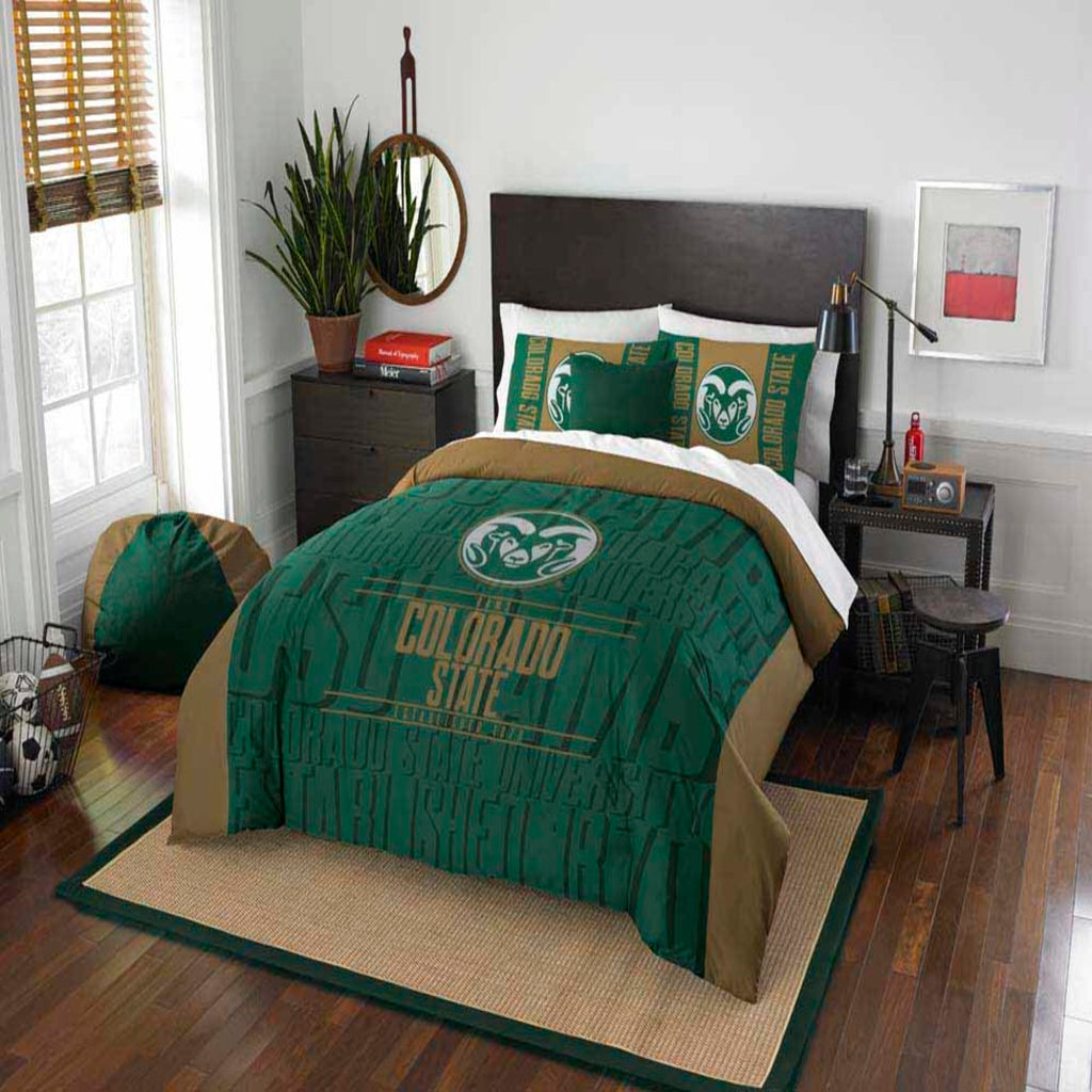 NCAA Ado State Rams Comforter Set Sports Patterned Bedding Team Logo Fan Merchandise Team Spirit College Football Themed Unisex