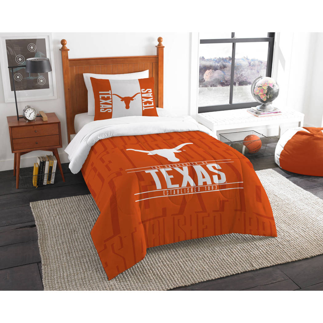 NCAA University Texas Longhorns Comforter Set Sports Patterned Bedding Team Logo Fan Merchandise Team Spirit College Foot Ball Themed