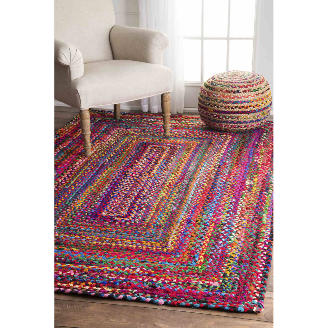 2'x3'ft Bohemian Patterned Area Rug Indoor Boho Living Room Mat Rectangle Carpet Hand Braided From Cotton