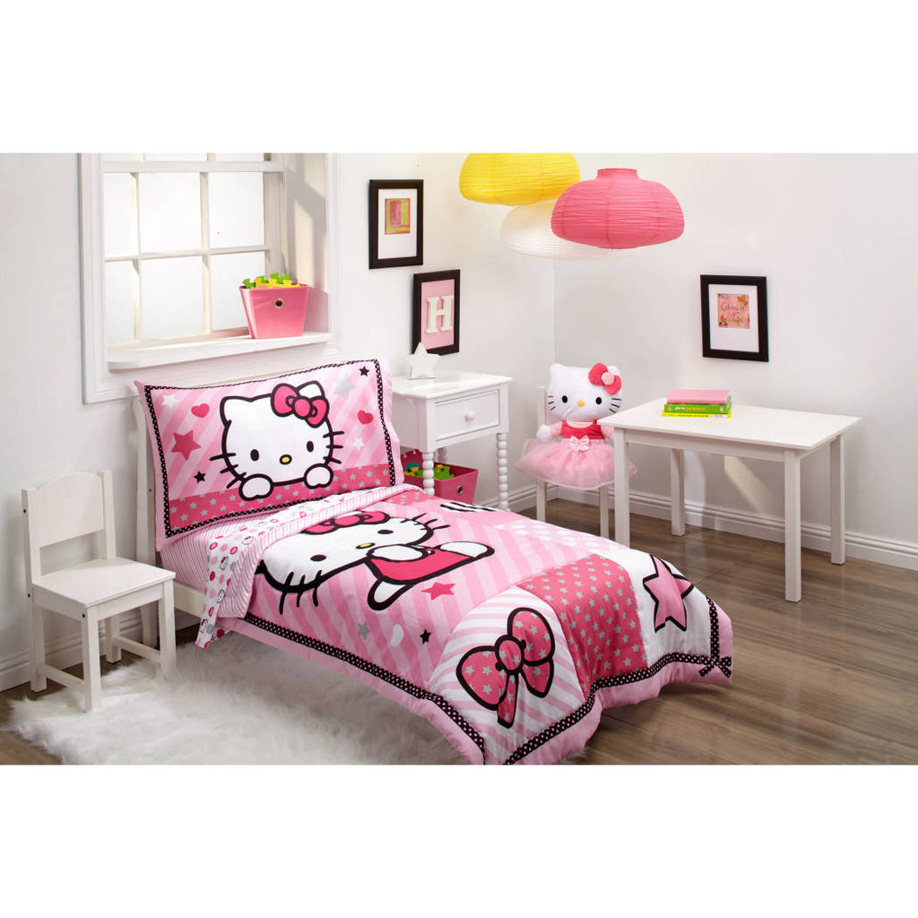 Kids Girls Pink Red Hello Kitty Toddler Bed Set Gray Black Cat Theme Bedding Cute Bow Tie Polka Dot Plaid Pattern Stripe Design Star Heart Shape - Diamond Home USA