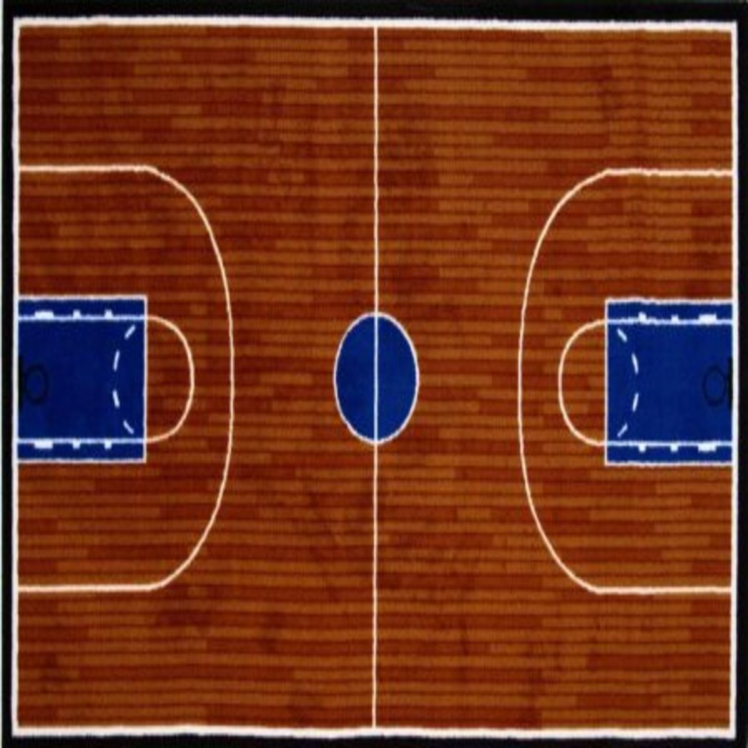 "1'7"" X 2'5"" Boys Basket Ball Court Area Rug Indoor Graphic Desic Novelty Sports Themed Bedroom Playing Room Rectangle Carpet Small"