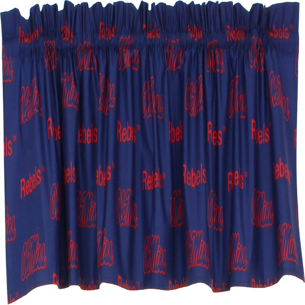 Rebels Window Curtain Set Football Themed Drapes Team Logo Fan Merchandise Athletic Team Spirit Fan Sports Window Drapery