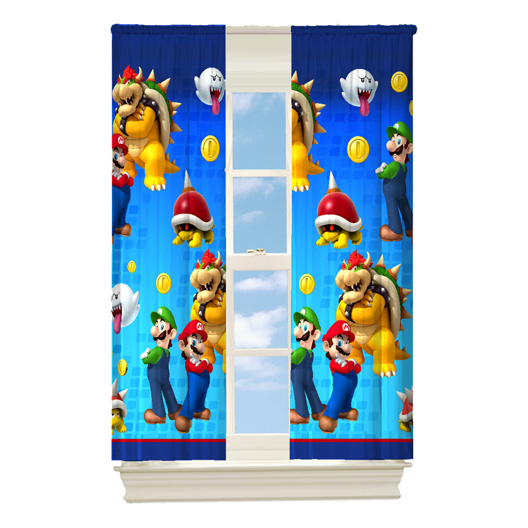 Color 63 Inch Nickelodeon Super Mario Window Curtain Single Panel Yellow Red Navy Green Animated Cartoon Character Movie Inspired Window Treatment - Diamond Home USA