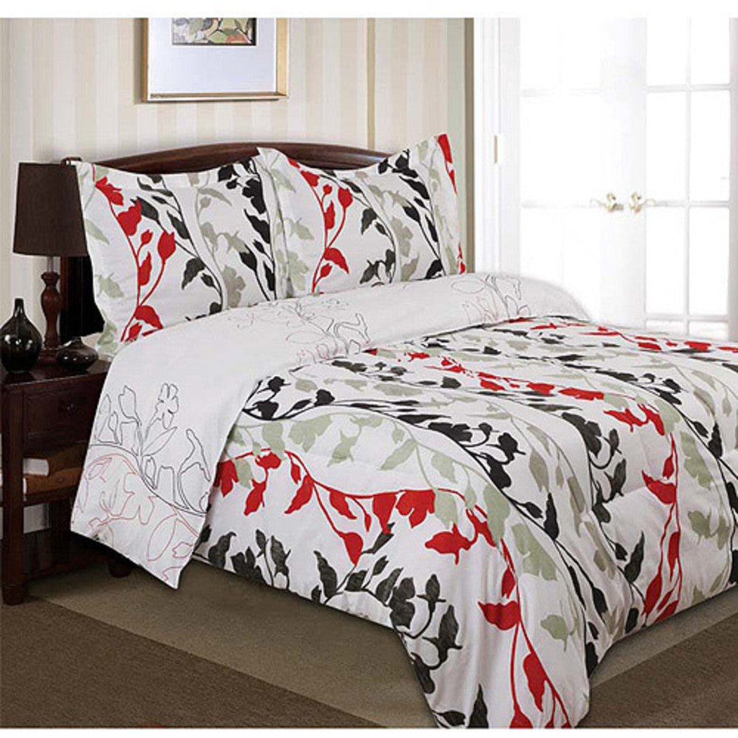 Floral Printed Duvet Cover Set Scrolling Vine Leaf Swirl Printed Teen Themed Stencil Outline Printed Kids Bedding