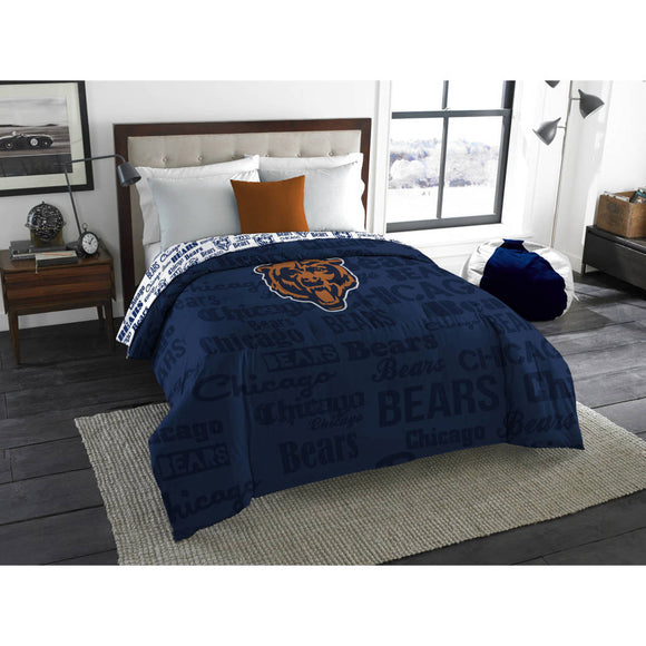 NFL Chicago Bears Comforter Full Sports Patterned Bedding Team Logo Fan Merchandise Team Spirit Football Themed National Football League Blue Orange