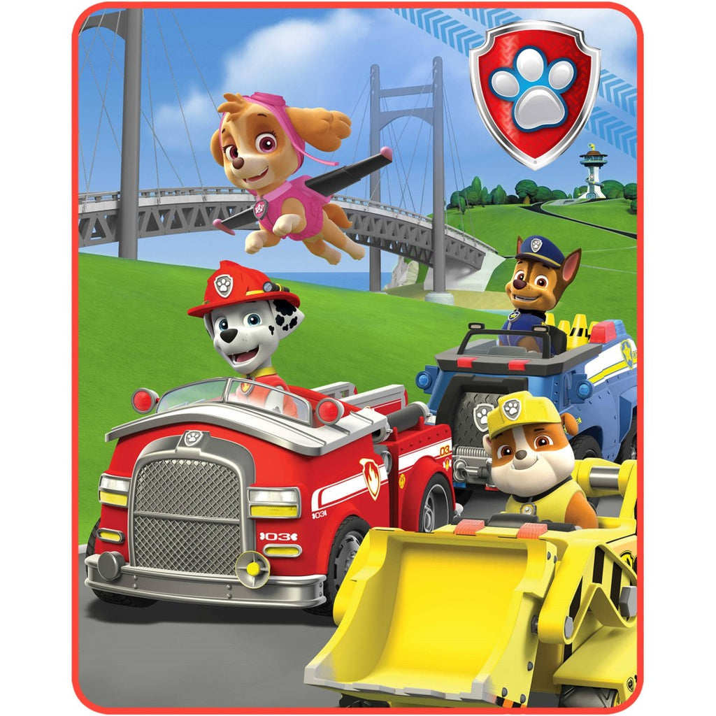 40 X 50 Kids Blue Red Paw Patrol Theme Throw Blanket Marshall Skye Chase Rubble Firetruck Cop Car Police Dogs Puppies Soft Picnic Car Accent Bedding