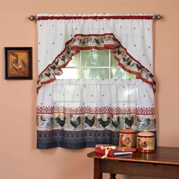 Rooster Kitchen Tiers Swag Set Chicken Kitchen Curtains Log Cabin Lodge Cottage Motif Window Treatment Morning Country Themed Traditional Polyester
