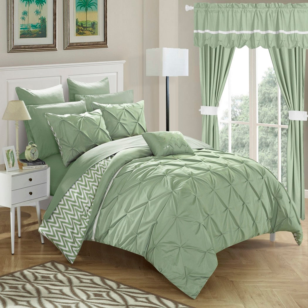 Luxury Pintuck Ruffled Comforter Complete Bed Set Elega Chevron Stripes Bedding Solid Pinch Pleated Diamond Floral Texture