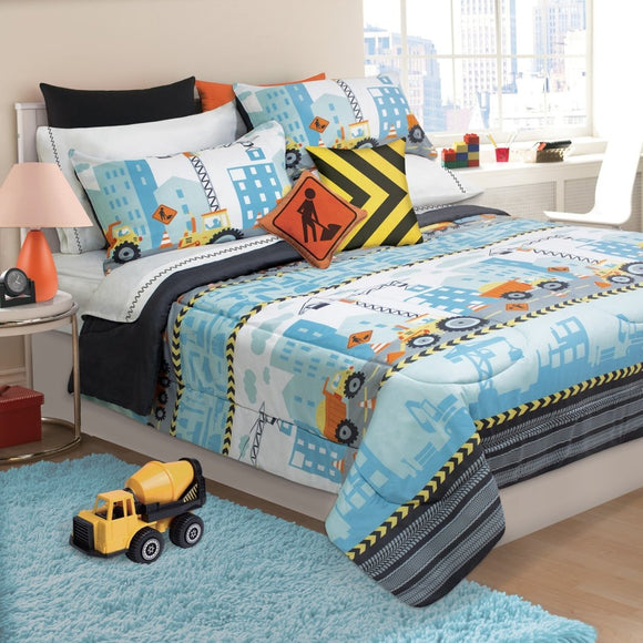 Kids Construction Zone Themed Comforter Set Boys Caution Building Site Bedding Yeild Sign Dump Truck Crane