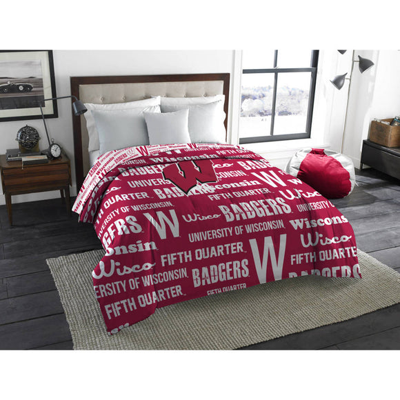 NCAA Wisconsin Badgers College Comforter Twin/Full Sports Patterned Bedding Team Logo Fan Merchandise Team Spirit College Basket Ball Themed Grey Red