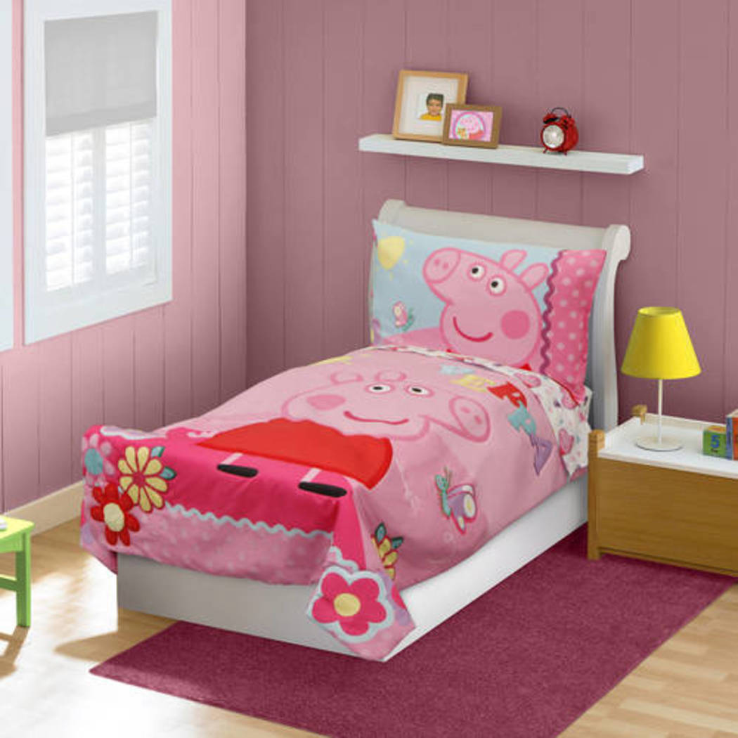 "Girls Pink Peppa Pig ""Tweet Tweet Oink"" Toddler Bedding Set Yellow Red Floral Piggy Animated Cartoon Characters Pattern Butterfly Dotted Designs Kids - Diamond Home USA"