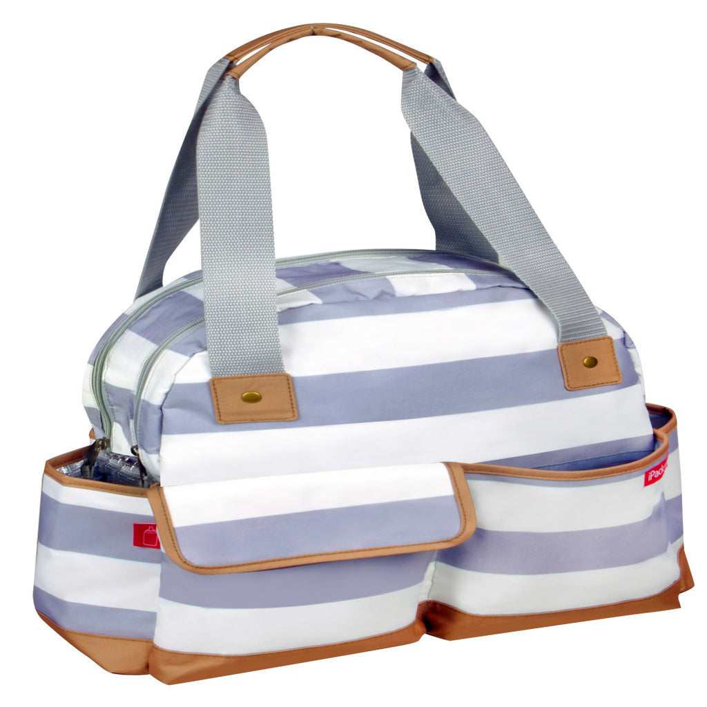 Grey White Large Stripe Diaper Bag Babies Baby Nursery Tote Backpack Carrier Horizontal Vertical Striped Pattern Design Roomy Changing Pad Zippered Storage Shoulder Strap Cotton - Diamond Home USA
