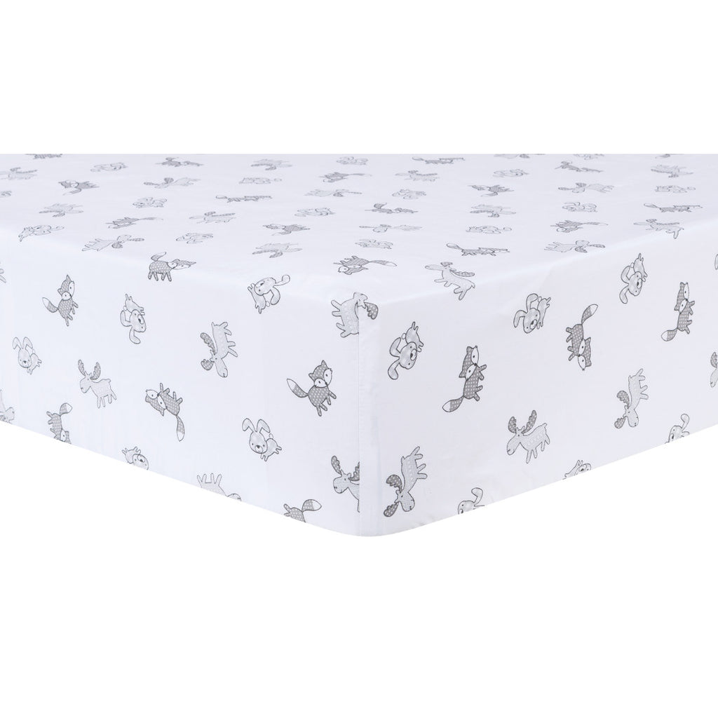 LO White Grey Forest Friends Fitted Crib Sheet Animal Themed Nursery Bedding Infant Child Woods Woodland Fox Rabbit Moose Nature Gray Cute Adorable Cotton - Diamond Home USA