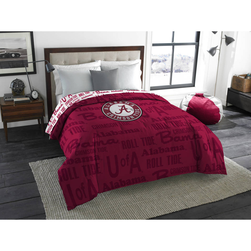 NCAA University Alabama Crimson Tide Comforter Full Sports Patterned Bedding Team Logo Fan Merchandise Team Spirit College Football Themed Red Unisex