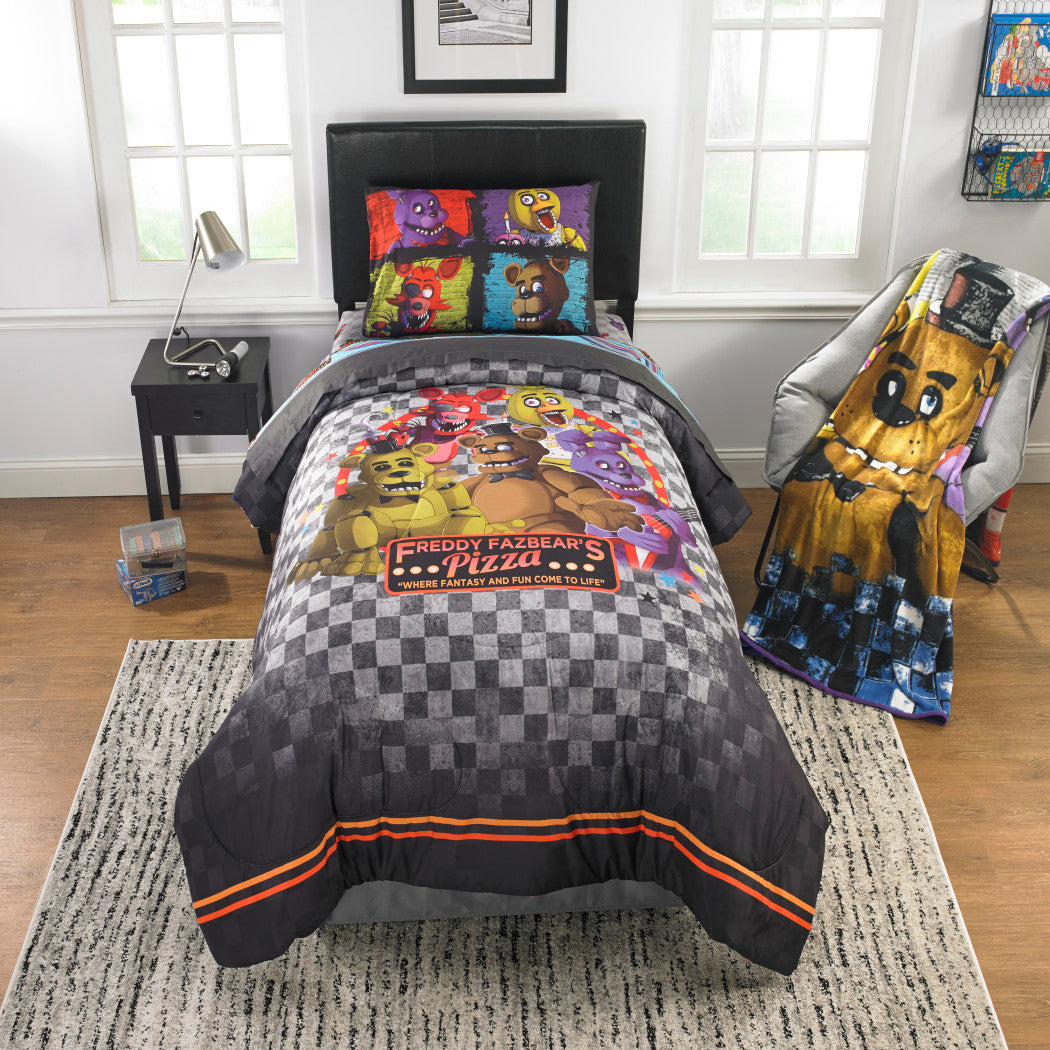 Kids Grey Five Nights At Freddys Comforter Twin/Full Set Blue Freddy Fazbears Bedding Pizza Themed Brown Bears Polyester - Diamond Home USA