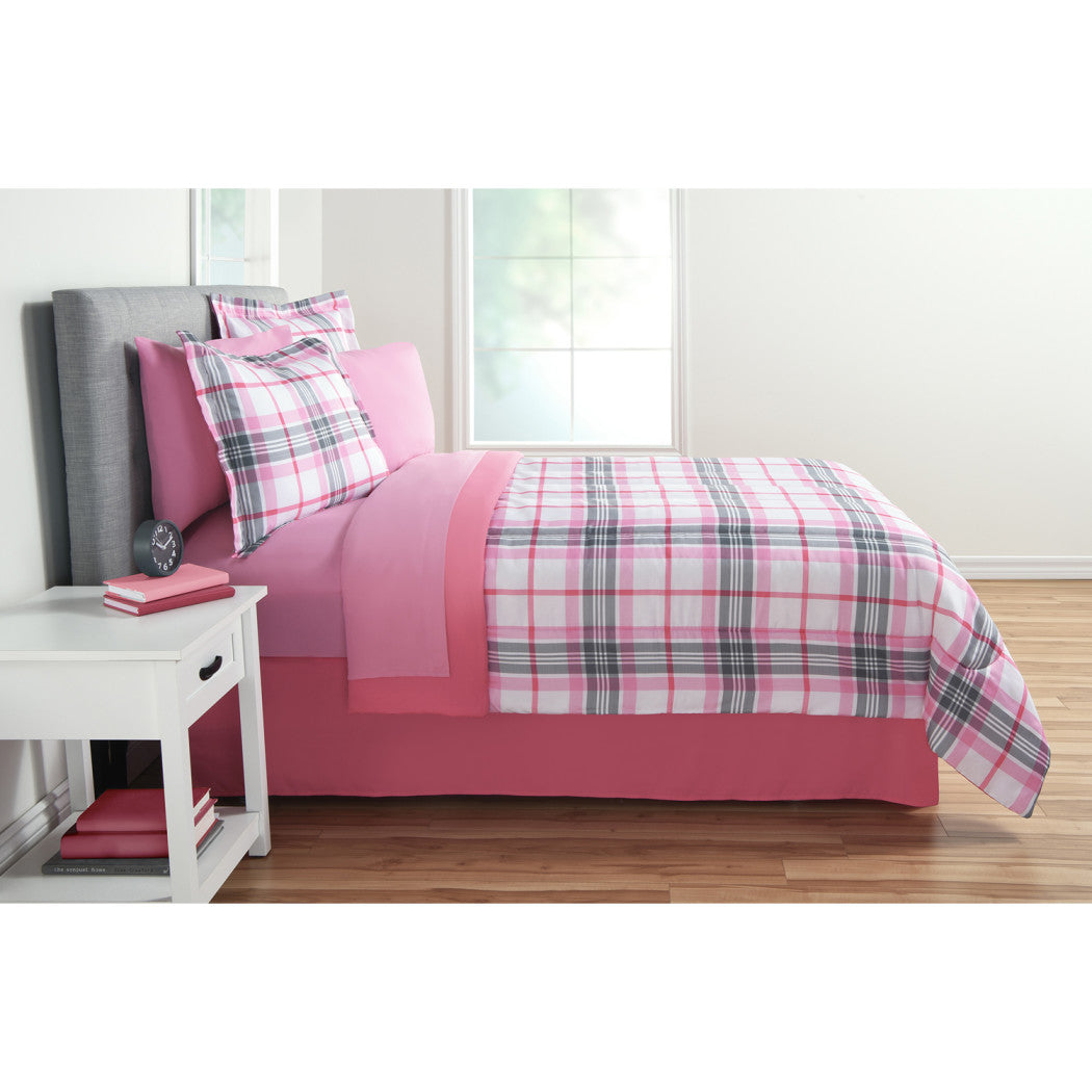 Kids Girls Classic Plaid Comforter Set Ljack Pattern Bedding Checkered Squares Checked Design Girly Pretty Tartan Madras Stripes Polyester