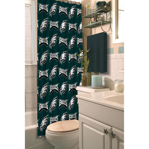 NFL Eagles Shower Curtain 72 X Inches Football Themed Bedding Sports Patterned Team Logo Fan