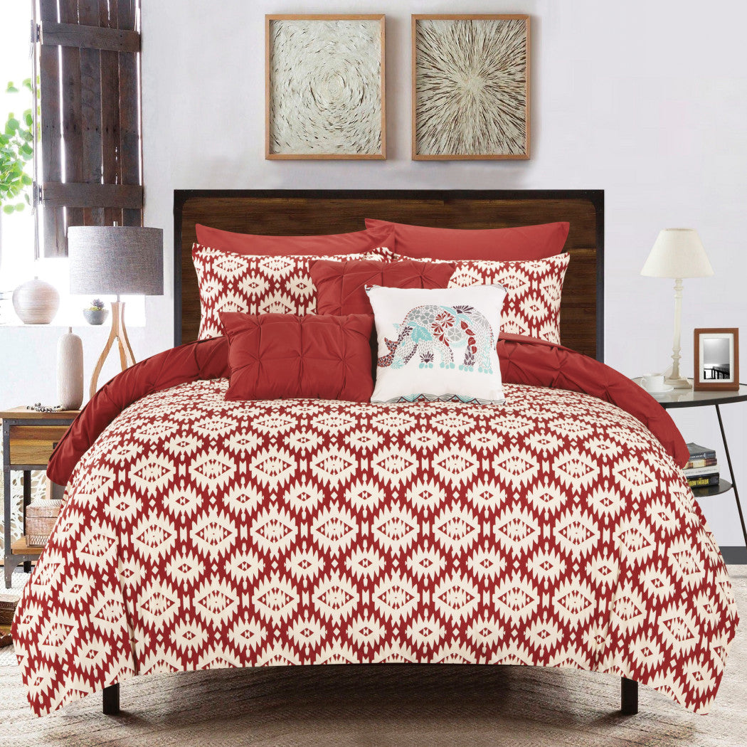 Brick Luxury Pin Tuck Pattern Comforter Set Stylish Geometric Aztec Inspired Bedding Modern Textured Pintuck Pinch Pleated Design